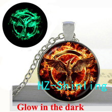 Glow in The Dark Jewelry Firebird Necklace Fire Phoenix Pendant Glass Dome Jewelry Glowing Necklace Pendant