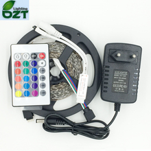 Upgrade More Brighter Than Old 3528 SMD RGB LED Strip 5M 300Led 24Key Remote Controller 2A Power Adapter Flexible Light Led Tape