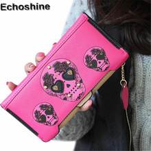 Best Deal New Women Wallets Boutique High-grade Good Quality Wallet Punk Skull Print Card Holder Bag Gift wholesale