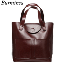 Burminsa Real Genuine Leather Bags Bucket Shopping Tote Bags Famous Designer Brand Handbags Large Ladies Shoulder Bags For Women
