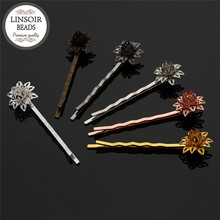 LINSOIR 10pcs Gold/Silver Color Flower Hair Barrette 55*16mm Copper Hair Clips Pins Party Wedding Bridal Hair Accessories F5456(China)