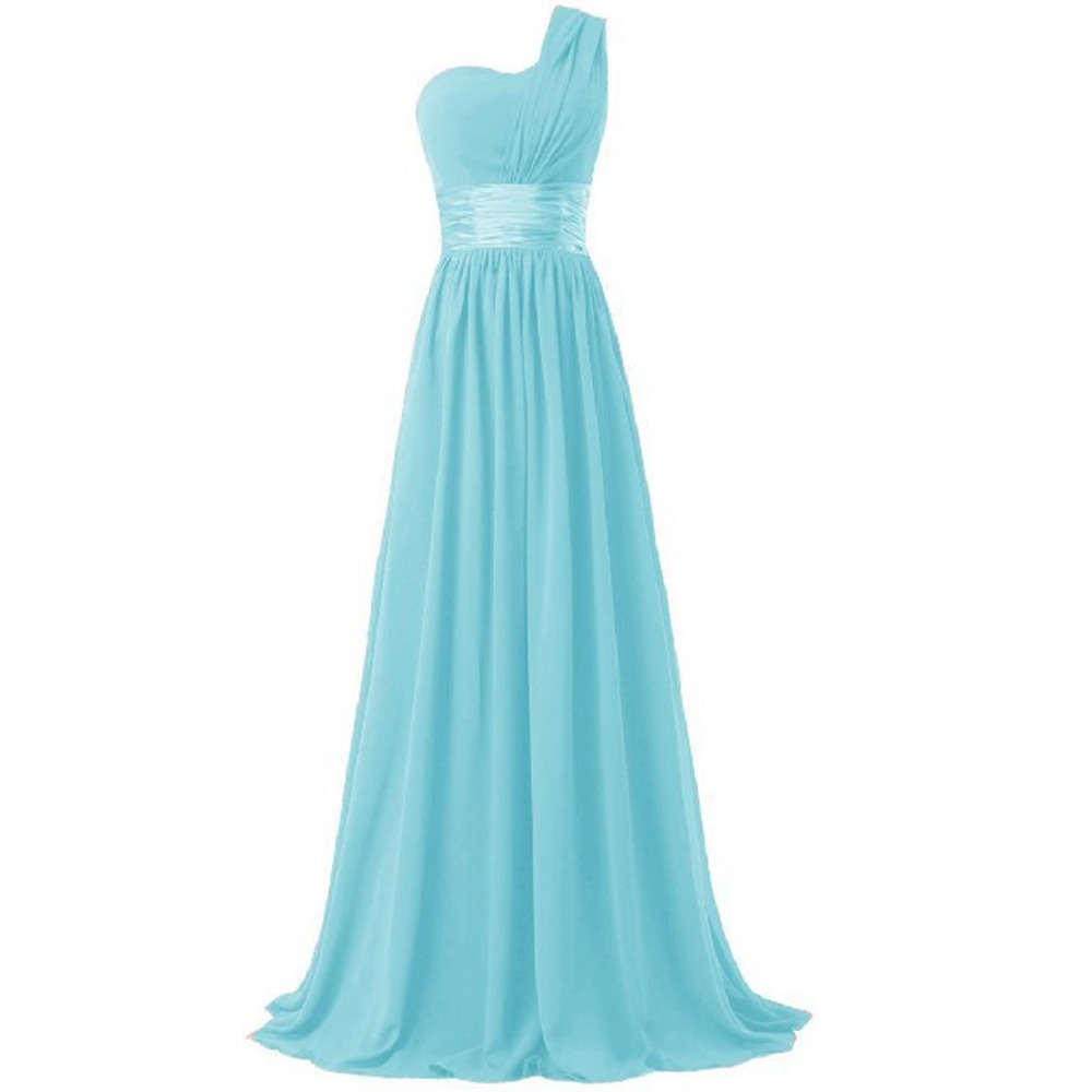 2017 long bridesmaid dress one shoulder a line chiffon for women elegant fashion style purple blue mint green pink red yellow 5