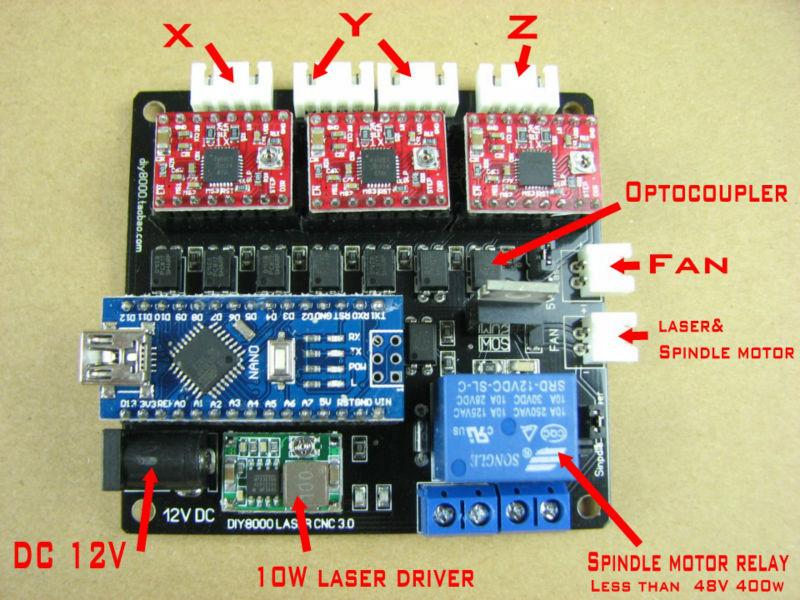 laser engraving machine laser DIY CNC router 3 Axis control board grbl control board<br>