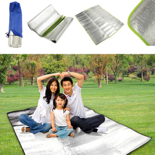 Aluminum Foil Outdoor Beach Garden Travel Moistureproof Picnic Grass Blanket Camping Hiking Sleeping Mat Pad Cushion Silver
