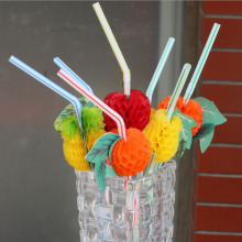 100PCS/Lot 3D Fruit Cocktail Paper Straws Umbrella Drinking Straws Party Decoration Color Assorted(China)