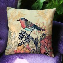 American Style Village Flowers And Birds Printing Soft Short Plush Decorative Nordic Pillow Cushion For Home Accessories