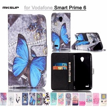 Fashion PU Leather Cover Cases For Vodafone Smart Prime 6 Painting Cartoon Cover Protective Cell Phone Accessories Back Skin Bag