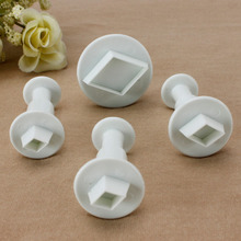 4PCS/SET Diamond Shape Spring Plastic Cake Tool Fondant Cake Decorating Sugar Rcraft Tools Biscuit Cookie Cutters