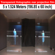 Free delivery cost  Adhesive transparent Rear projection film for 3d hologram display (1.524*5meters)