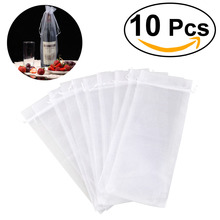 10pcs Sheer Organza Wine Bottle Cover Wrap Gift Bags (White)