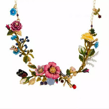 2017 New Arrival Amybaby Les Nereides Oriental Rose Pink Yellow Flowers Womens Necklace Jewelry(China)