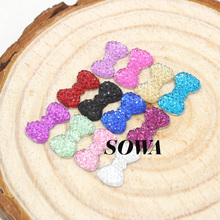 Free Shipping Size 12.5*7mm 50pcs/lot Multicolor Bow Shape Flatback Rhinestone Scrapbooking ABS Resin Beads For DIY Decoration(China)