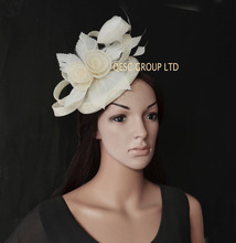 New Arrival.Cream ivory sinamay Fascinator with feather flower for Royal Ascot Derby Kentucky Melbourne cup.(China)