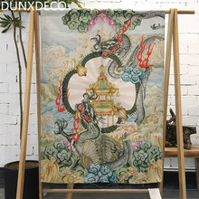 DUNXDECO Door Partition Curtain Kitchen Half Short Cortinas Artistic National Dragon Temple Heavy Linen Look Fabric Rideau