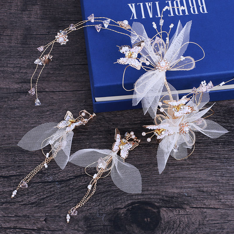 Fashion Handmade Headband Hair Accessories Engagement Honeymoon Headdress Bridal Wedding Beaded Headpiece with Long Drop Earring
