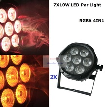 2Pcs/Lot New Arrival 7x10W RGBA 4IN1 LED Par Cans DMX512 8 Chs Led Flat Par Lights DJ Disco Professional Stage Events Lighting