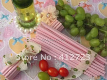 Hot sale Mini light pink solid paper straws drinking party straws wedding bar christmas valentine party favors supplies 75pcs