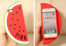Watermelon Shape Design Soft Silicone Case phone case For iPhone 5 5S Fruit Watermelon shape mobile protective sleeve Iphone 5G