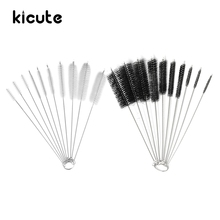 Kicute 10Pcs White Black Test Tube Cleaner Nylon Bottle Tube Nozzle Brushes Cleaning Brush Cleaner Set Laboratory Lab Stationery