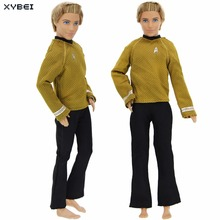 Fashion Outfit Handmade Casual Wear Long Sleeves Yellow Shirt Black Jeans Trousers Clothes For Barbie Ken Doll Accessories Gift(China)
