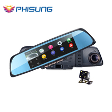 PHISUNG K05 Android 4.4 6.86 inch Touch Screen 1080P Full HD Car DVR Dual Camera Rearview Mirror GPS Support WIFI FM loop cycle