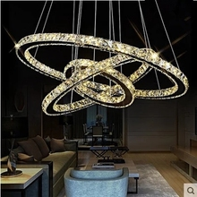 Mirror Stainless Steel Crystal Diamond Lighting Fixtures 110-240V AC LED Crystal Cord Pendant Light Round Rings Suspension Lamp(China)