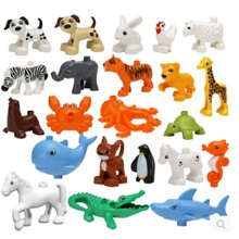 28 Kinds Enlighten Original Mini Animal Block Zoo Building Blocks Compatible With legoeINGlys Duplo Lion Pig Sets for Children