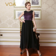 Summer new VOA purple blace color mosaic sleeveless silk dress female slim simple long dresses A6721
