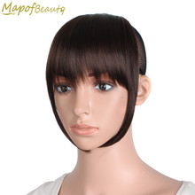 Short Front blunt bangs Clip in Hair extensions 6 inches dark light brown black Heat Resistant Synthetic Hair Fringe MapofBeauty(China)