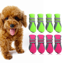New Arrival 4 Sizes Pet shoes Teddy Schnauzer puppy dog shoes casual walking shoes Green and Rose Red