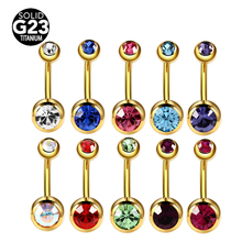 1pc G23 Titanium Navel Rings Gold Anodized Belly Button Piercing Navels Double Crystal Fashion Ombligo for Women 14G Jewelry(China)