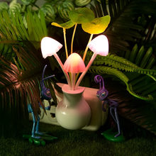 EU US plug Romantic Colorful Dream flower Night Light Sensor Control Bed LED Light Potting Lamp for Home Bedroom Decoration(China)