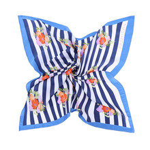 Printing Silk Scarf Women Striped Scarves Blue Elegant Lady's Silk Wrap Career Decoration Silk Neckerchief Small Square Kerchief(China)