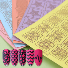 20 Tips One Sheet Two Patterns Adhesive Nail Vinyls Hollow Nail Art Manicure Stencil Stickers for Nail Polish Design