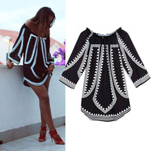 Feitong 2017 Summer Women Casual Dress Sexy Off Shoulder Long Sleeve Loose Printed Tops Party Beach Mini Dress vestidos feminino