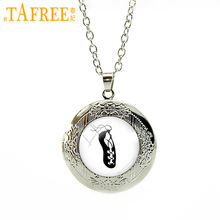 TAFREE Ballet shoes Necklace on a white background Silver Plated locket For girl simple elegant round glass charm jewelry NS131(China)