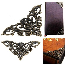 12pc Bronze Vintage Furniture Corner Brackets Gift Jewelry Box Album Corner Protector Metal Craft Hardware Accessrios Home Decor(China)