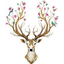 Sika Deer head creative wall stickers Flower branch small Birds 3d vinyl decals home decoration bedroom warm mural free shipping