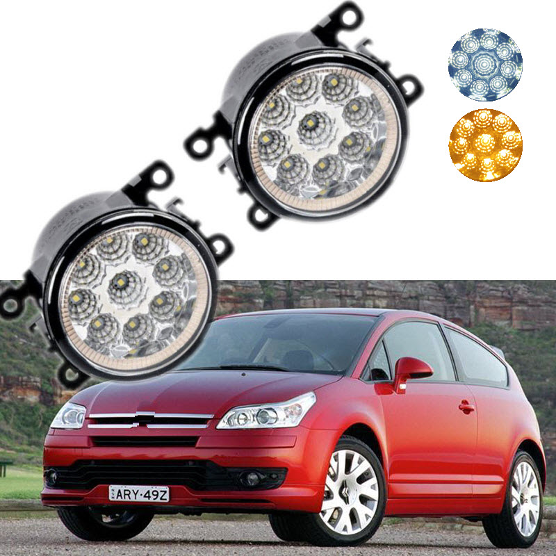 For Citroen C4 LA_ LC_ 2004-2008 2009-2011 9-Pieces Leds Chips LED Fog Light Lamp H11 H8 12V 55W Halogen Fog Lights<br>