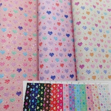 Printed Hearts on Glitter Leather Fabric For Valentine's Date Synthetic Leather for DIY Bows, Shoes, handbags and garment P1643(China)