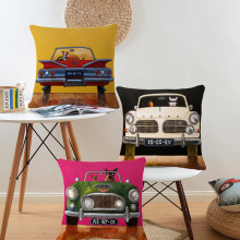 Hot Sale 16 Styles Dog Driving Travel Cushions Covers 45x45cm Linen Cotton Pillows Covers Funny Animal Pillowcase Gift(China)