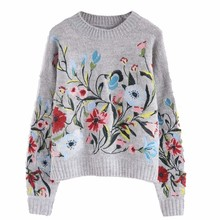 [GUTU] 2018 Korean Autumn spring fashion new solid color round collar full sleeve loose embroidered sweater women V74702(China)