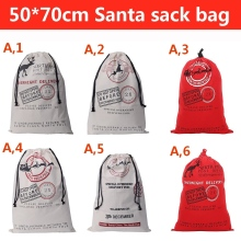 DHL free shipping  50 units / lot 6 style Santa Claus Christmas moose cotton canvas bag Drawstring Bag Christmas Gift Christmas