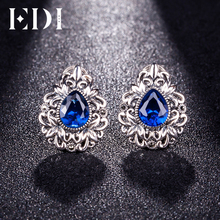 EDI Retro 925 Sterling Silver Flowers Inlaid Corundum Clip Earrings Vintage Authentic Sterling Silver Fine Jewelry for Women(China)