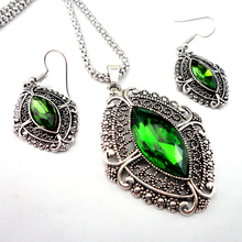 Fashion 4 Color Choose Retro Silver Alloy Jewelry Set Pendant Earring Necklace Chain Jewelry Bulks Lots LR134