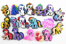 18 Pcs PVC Little Horse Shoe accessories Shoe Charms Shoe Decorations  for Croc Bracelet Wristband Kid Gift(China (Mainland))