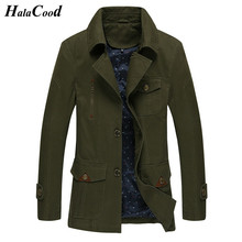 HALACOOD Hot Sale 2017 Autumn Thin New Fashion Brand Men Jacket Coats Long Overcoat Cotton Jackets Mens Outerwear Army Green 4XL(China)