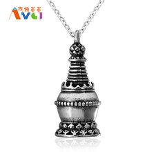 AMGJ Vintage Pagoda Buddhist Pendant Necklace Prayer Wheel Titanium Steel Religious Jewelry Free Chain E067