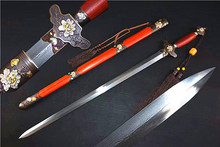 Unique Peony Sword Chinese Traditional Jian Wushu Sword Folded Damascus Steel Blade Knife Fitted Rosewood Scabbard(China)