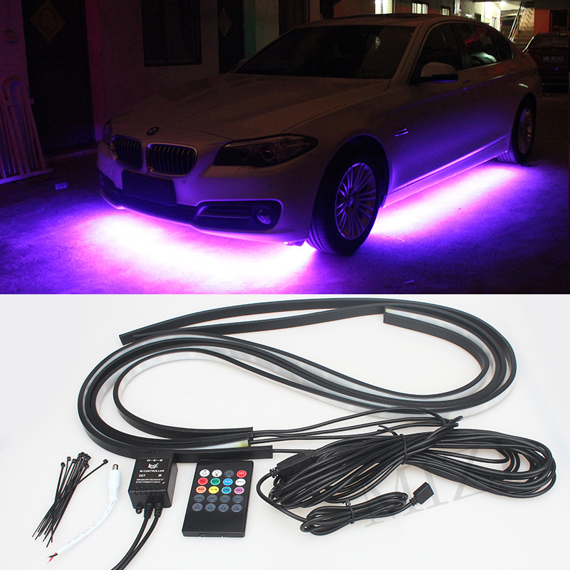 4pcs Colorful RGB LED Under Car Glow Underbody System Neon Lights Kit W/sound and Control 60CM+90CM<br>